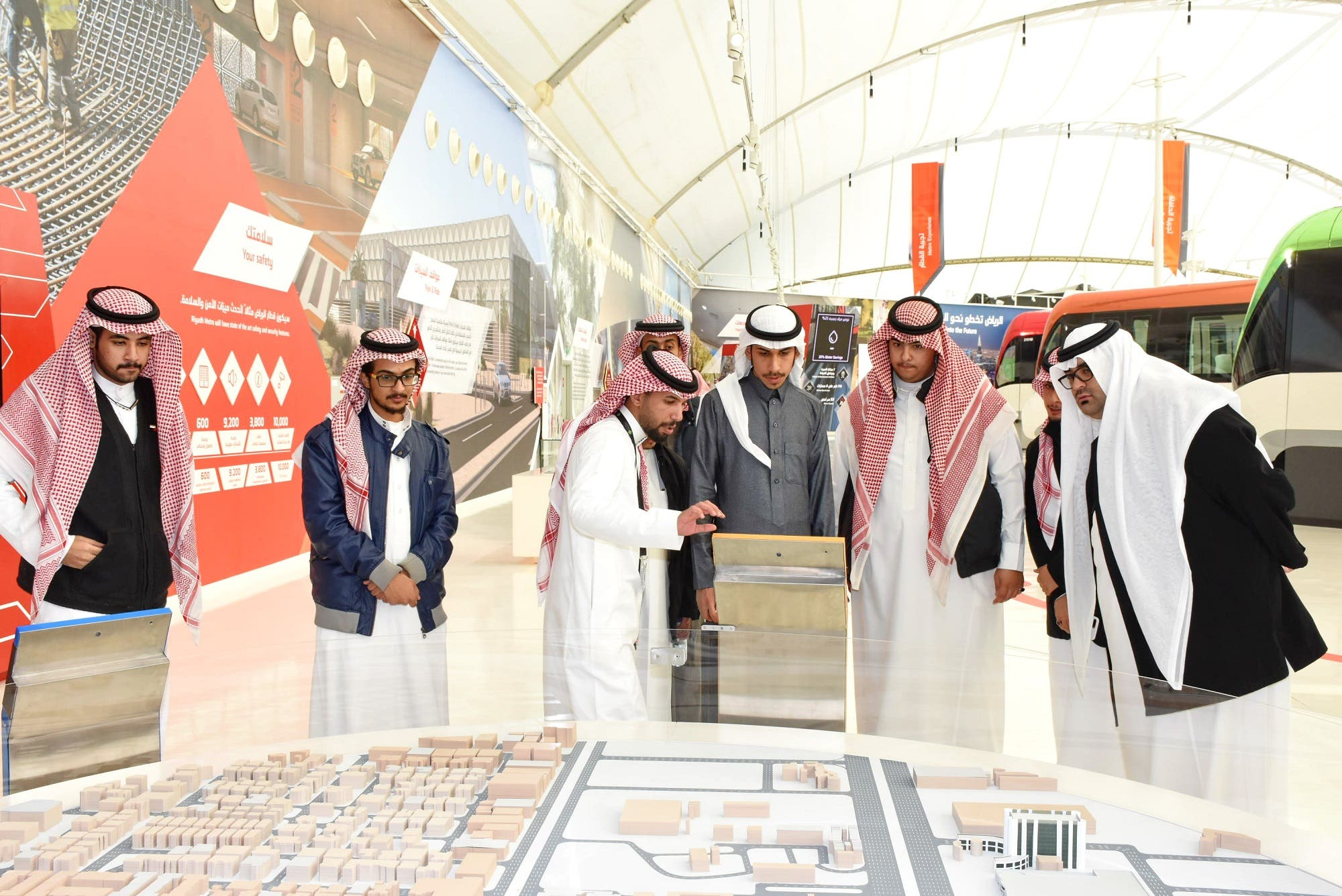 Visitors to the exhibition can also play virtual reality games by moving tablets across the huge map of Riyadh and move metros. (Supplied)