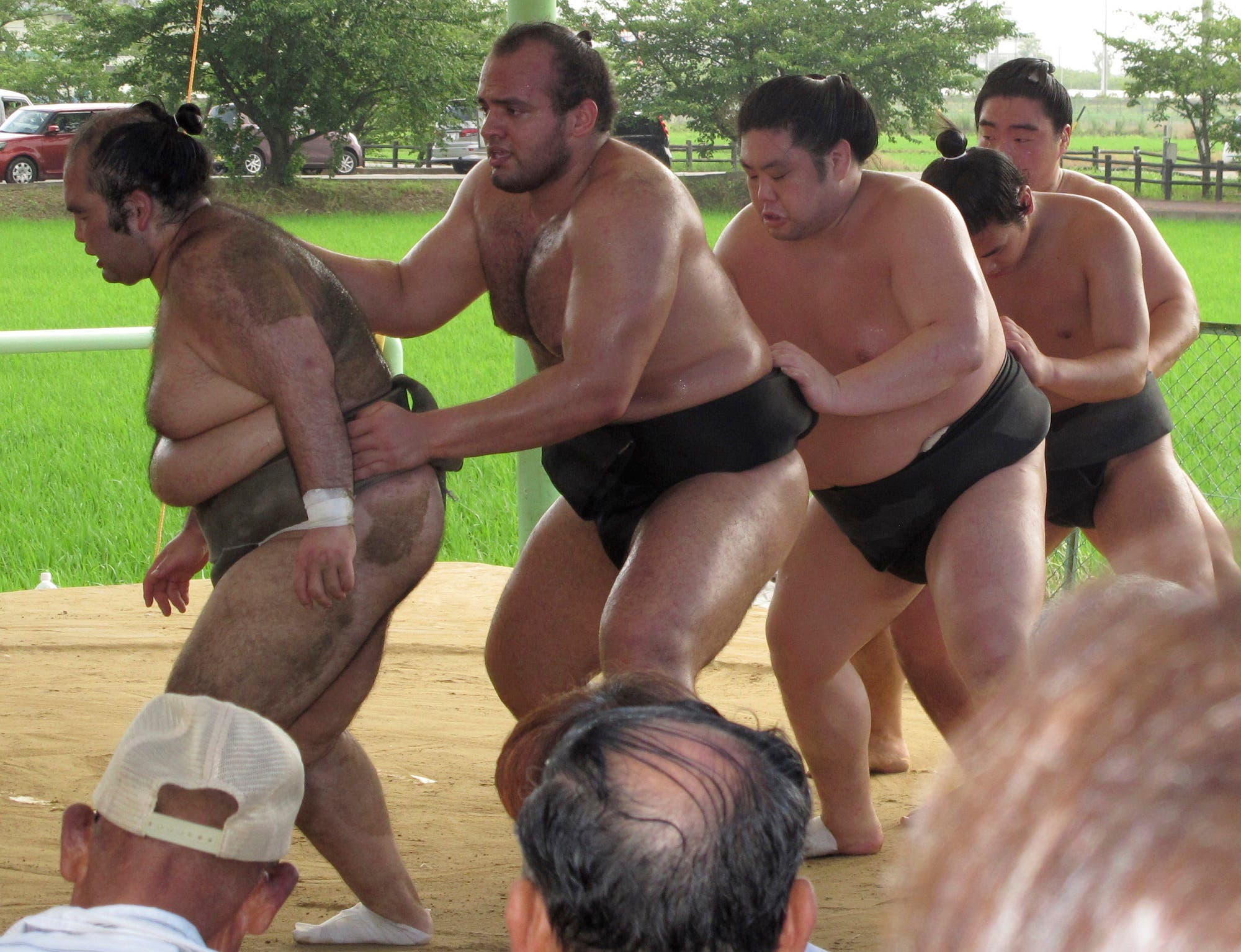 Osunaarashi, second from left, trains with his stablemates in Inazawa, near Nagoya, central Japan. (AP)