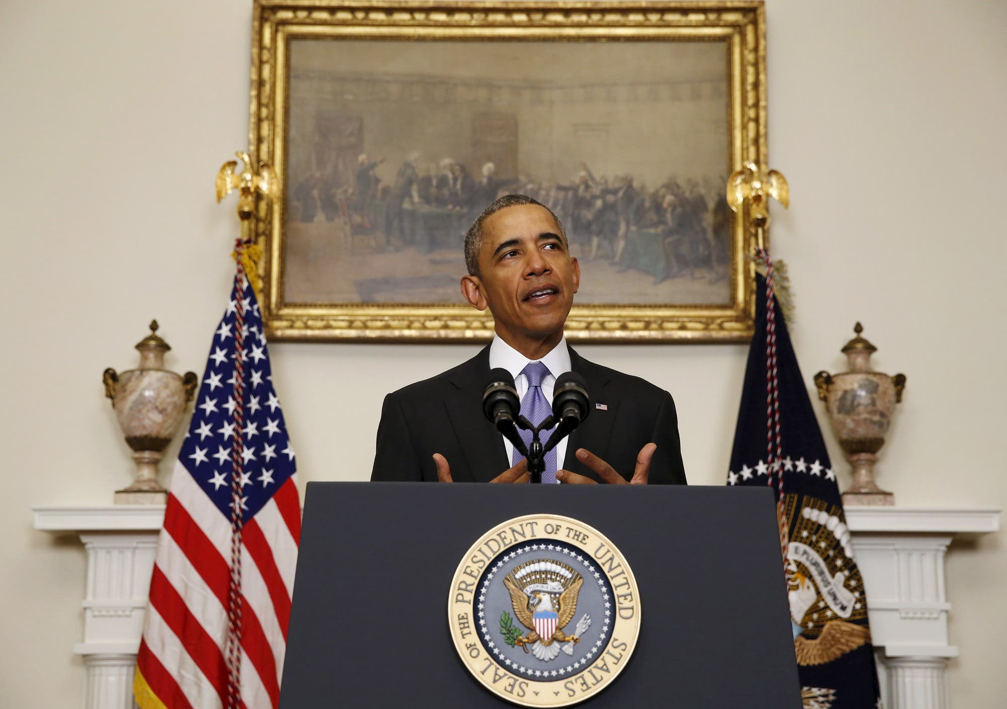Barack Obama delivers a statement on Iran at the White House in Washington, January 17, 2016. (Reuters)