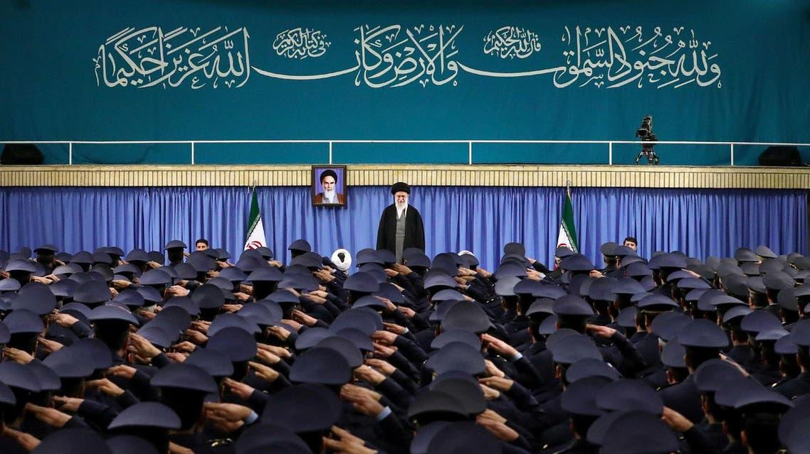 Supreme Leader Ayatollah Ali Khamenei stands as air force commanders salute during their meeting in Tehran on Feb. 7, 2017. (AP)