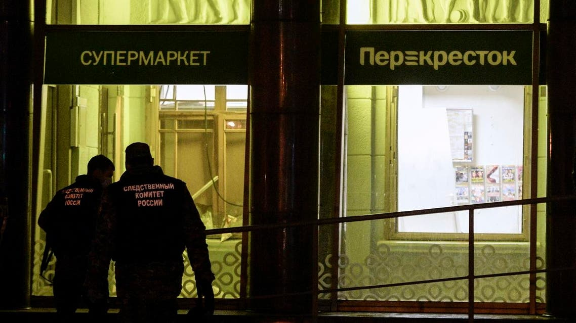 Investigators work at the site of a blast in a supermarket in Saint Petersburg on December 27, 2017. (AFP)