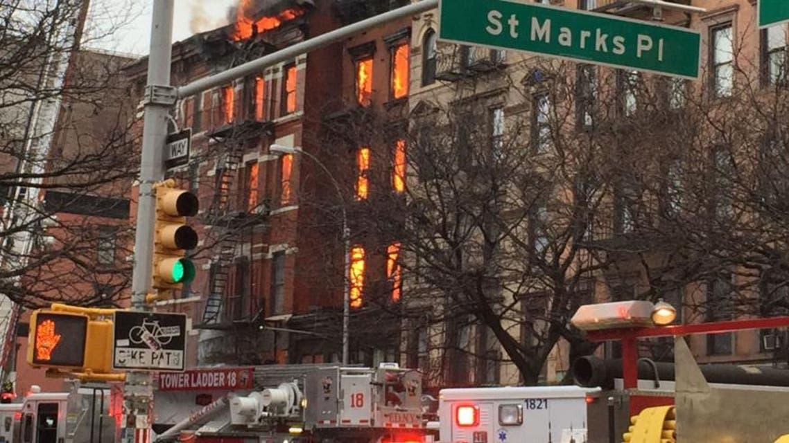 حريق في حي البرونكس في نيويورك