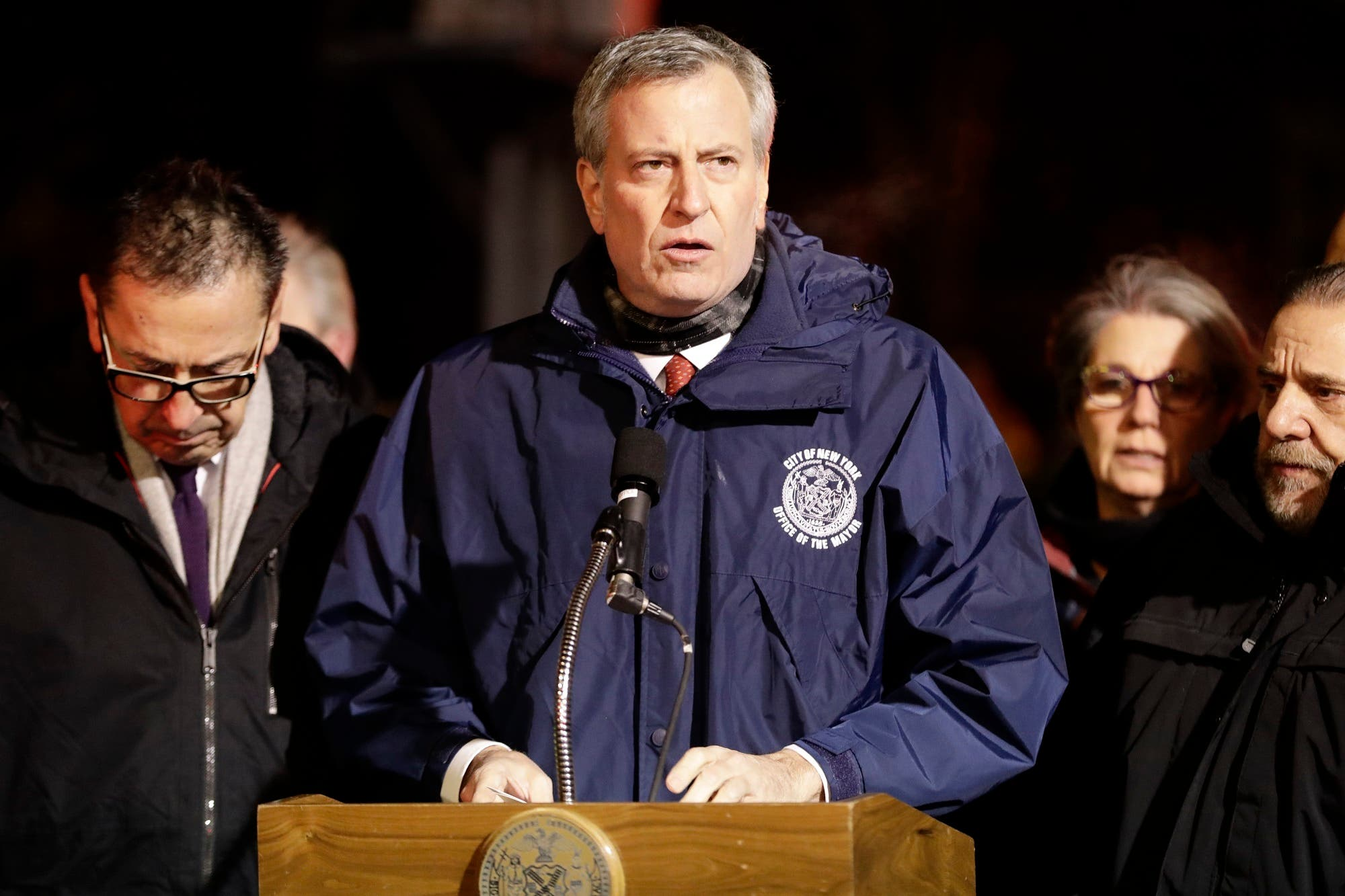 New York City Mayor Bill de Blasio speaks during a news conference after fire crews responded to a building fire on Dec. 28, 2017, in the Bronx borough. (AP)