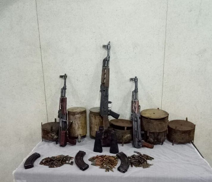 Weapons found in the hideouts.