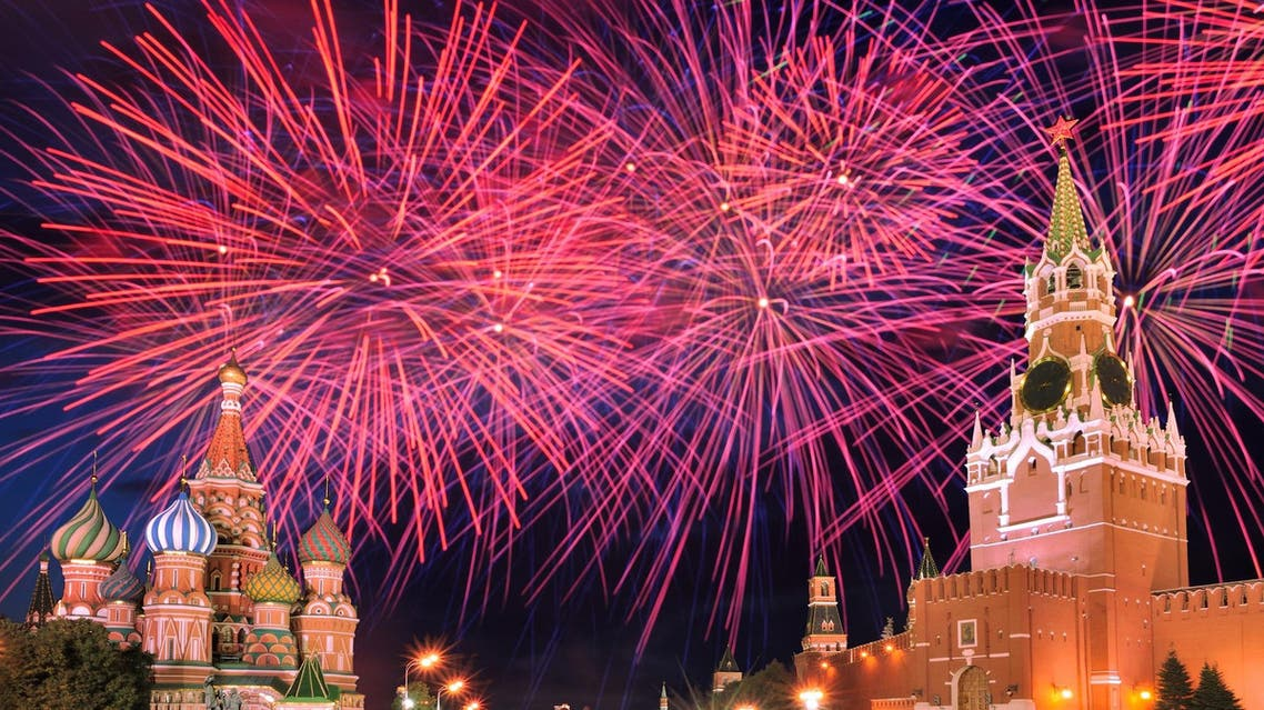 Fireworks explode over Red Square in Moscow, Russia. (Shutterstock)