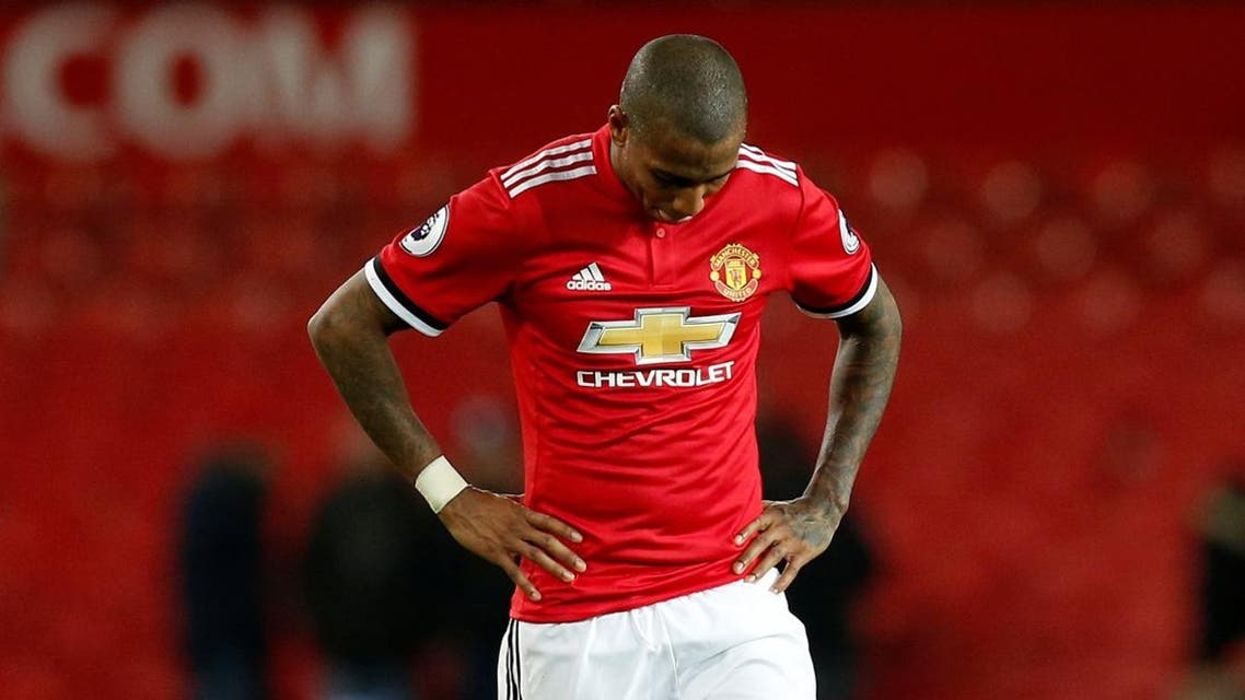Manchester United's Ashley Young looks dejected after the match. (Reuters)