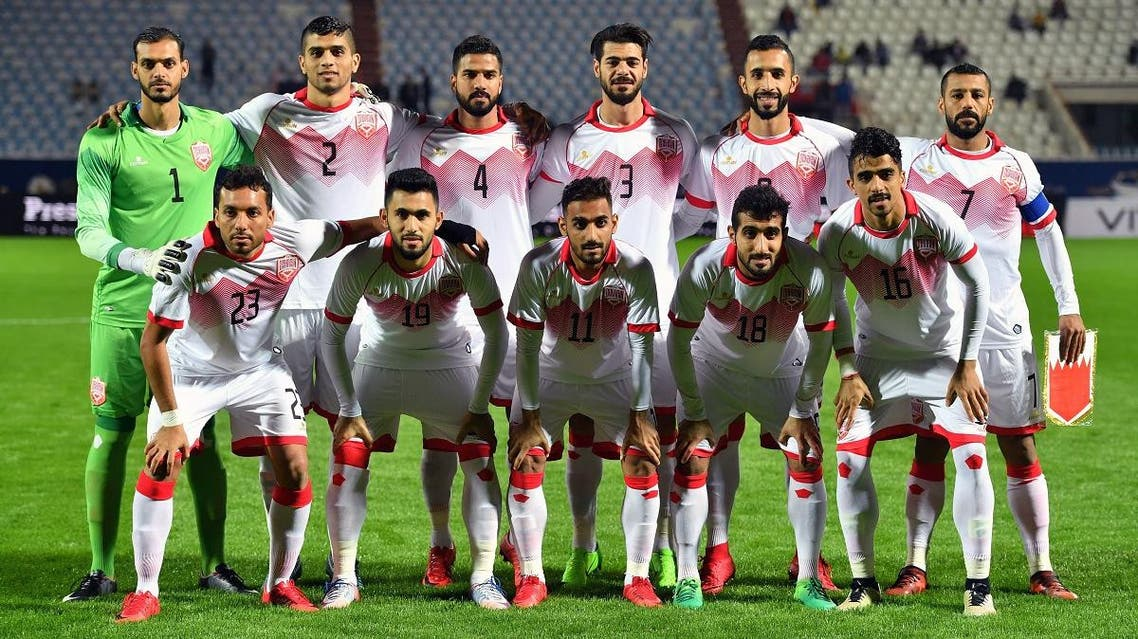 Bahrain's starting eleven pose for a group picture ahead of their 2017 Gulf Cup of Nations football match against Yemen at Al Kuwait Sports Club Stadium in Kuwait City. (AP)