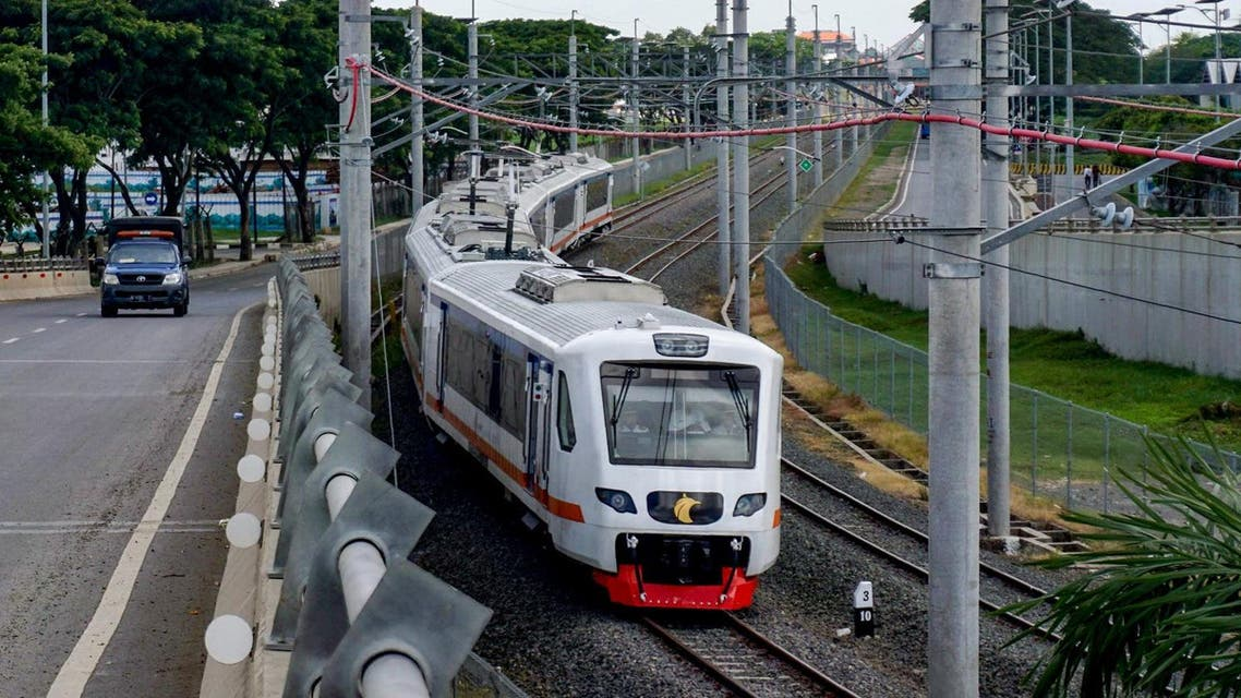 A train is seen along the newly built airport train line linking Soekarno-Hatta International Airport in Tangerang, on the outskirts of Jakarta, to the city centre on January 2, 2018. (AFP)