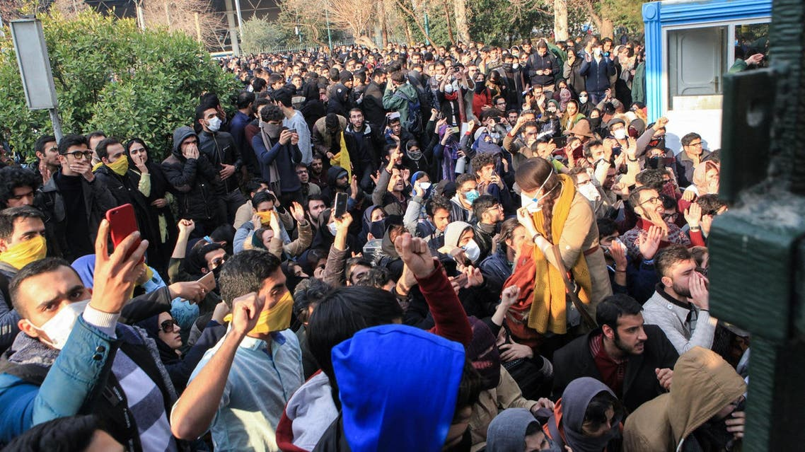 Iranian students protest at the University of Tehran on December 30, 2017. (AFP)