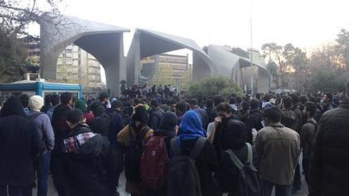 Photo of the social media shows protesters near Tehran University on December 30. (Reuters)