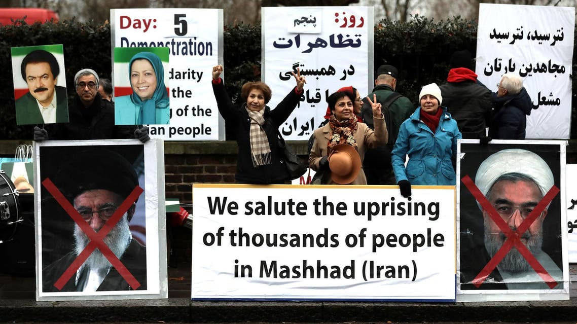 Protesters outside the Iranian embassy in west London on January 2, 2018. (Reuters)