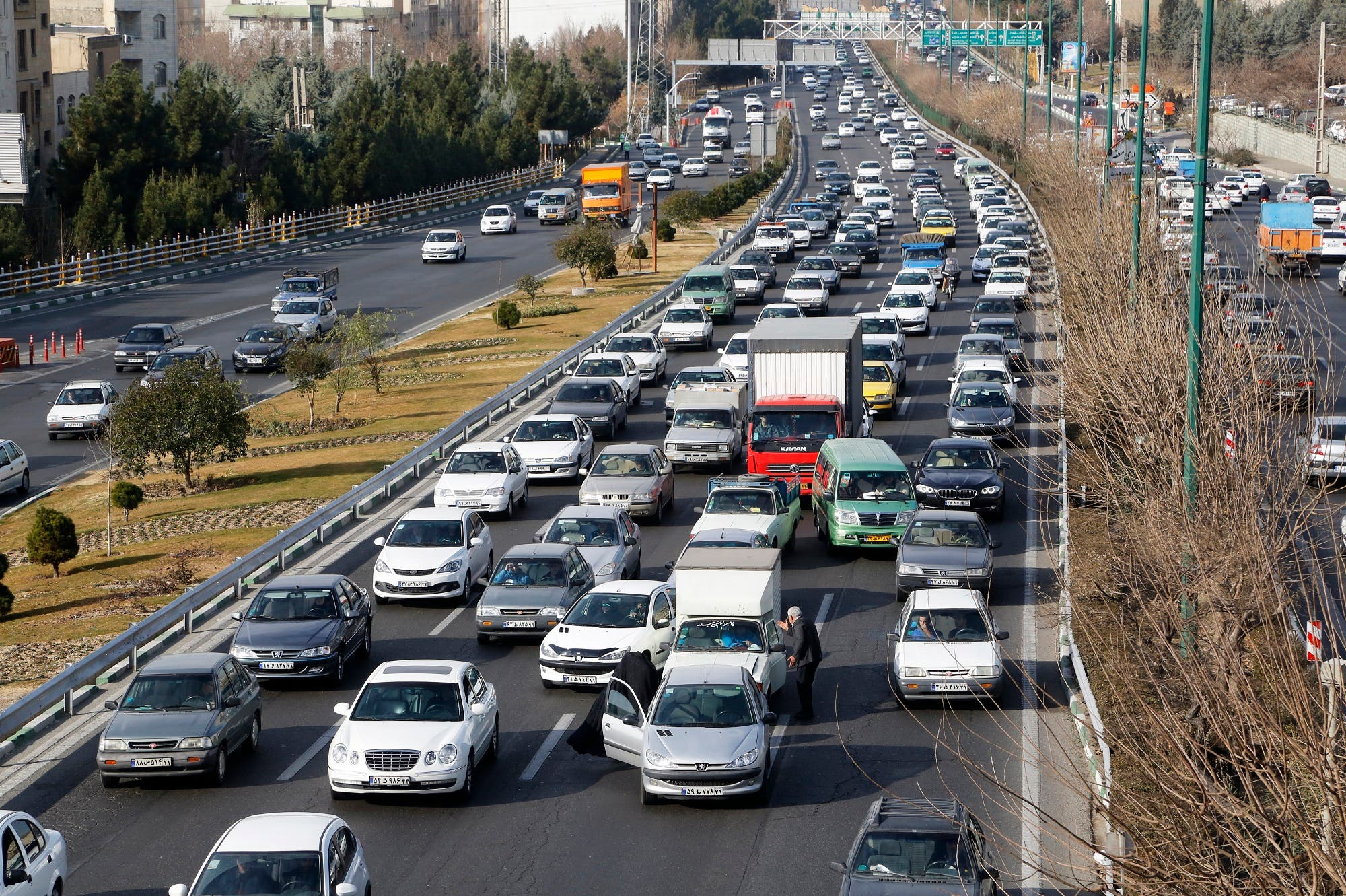 A general view of the traffic on a main highway in Tehran on January 3, 2018. (AFP)