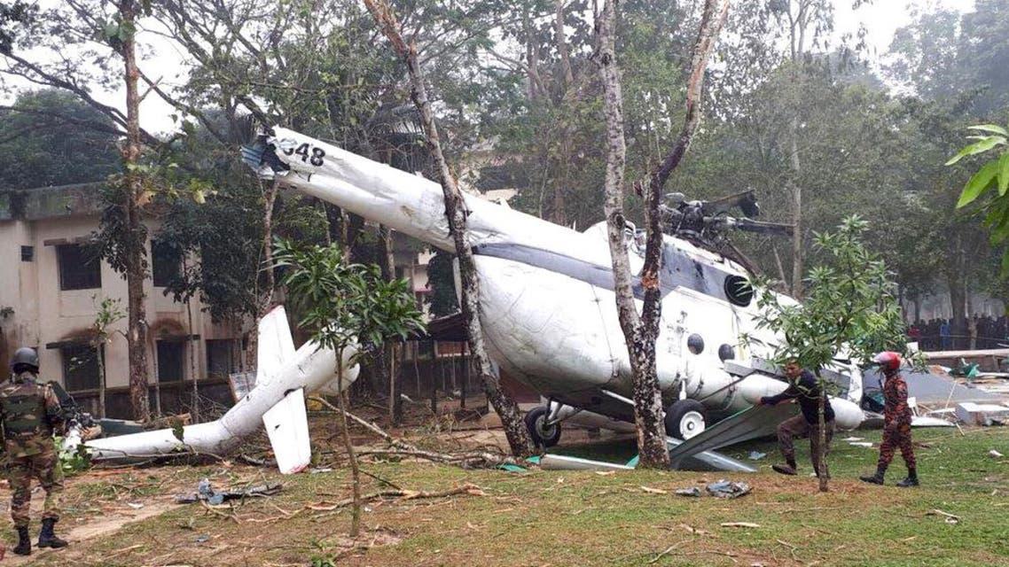 المروحية بعد تحطمها