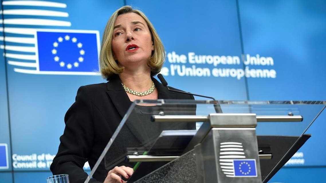 High Representative of the European Union for Foreign Affairs and Security Policy Vice-President of the Commission Federica Mogherini gives a joint press conference after a Foreign Affairs Ministers meeting at EU headquarters in Brussels on December 11, 2017. (AFP)