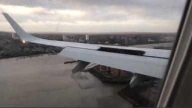فيديو.. عاصفة تمنع طائرة بريطانية من الهبوط في آخر لحظة
