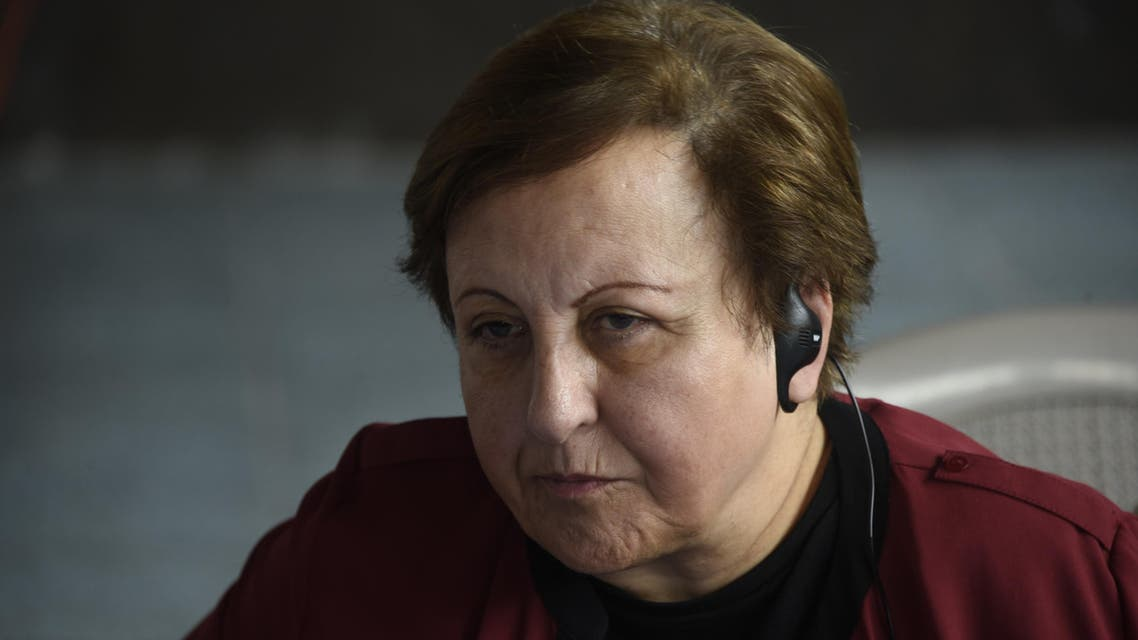 Shirin Ebadi during a press conference in Casillas municipality, Santa Rosa department, 35 km southeast Guatemala City, on October 26, 2017. (AFP)