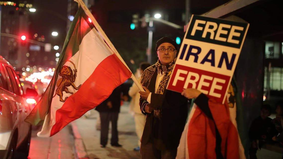 People protest in Los Angeles, California, in support of anti-government protesters in Iran, on January 3, 2018. (Reuters)
