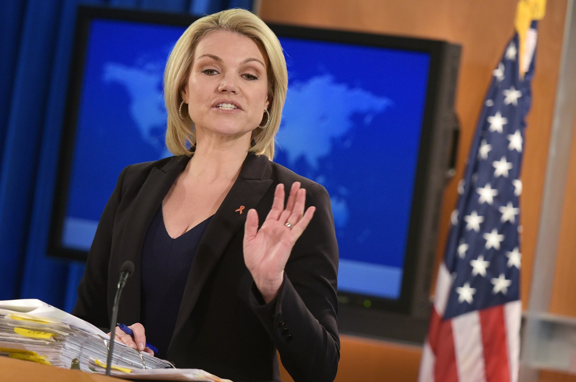 State Department Spokesperson Heather Nauert during a briefing in Washington, DC on November 30, 2017. (AFP)