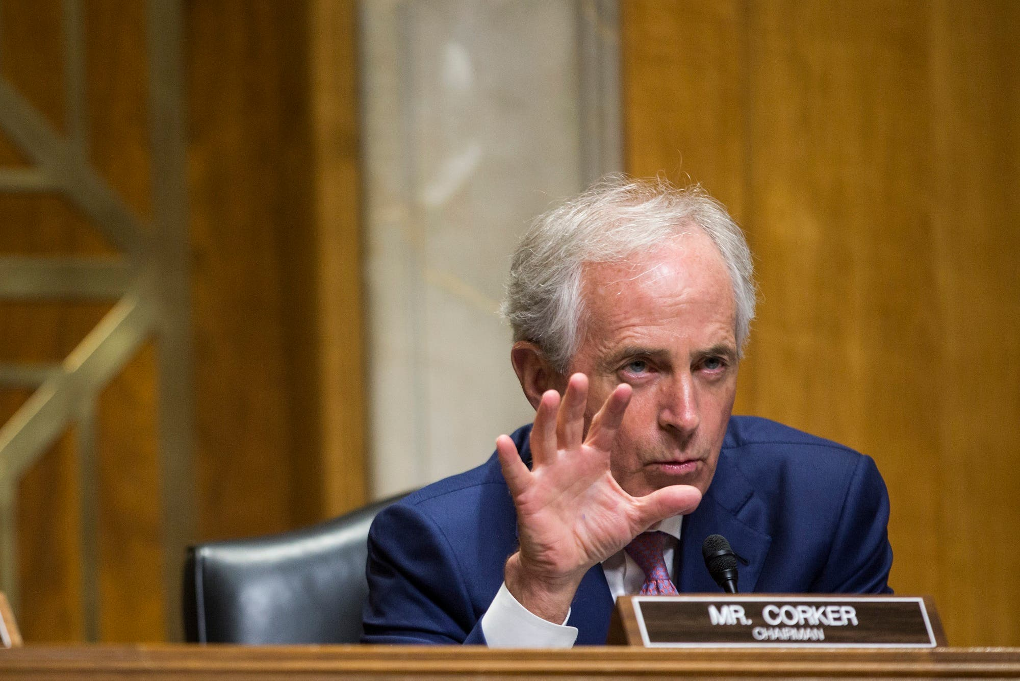 Sen. Bob Corker during a Senate Foreign Relations Committee meeting on Capitol Hill in Washington, DC on February 16, 2017. (AFP)