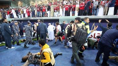 شاهد لحظة سقوط زجاج مدرج المشجعين العمانيين