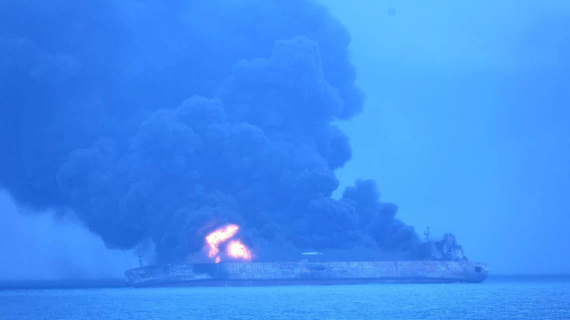 Iranian oil tanker ablaze off the Chinese coast