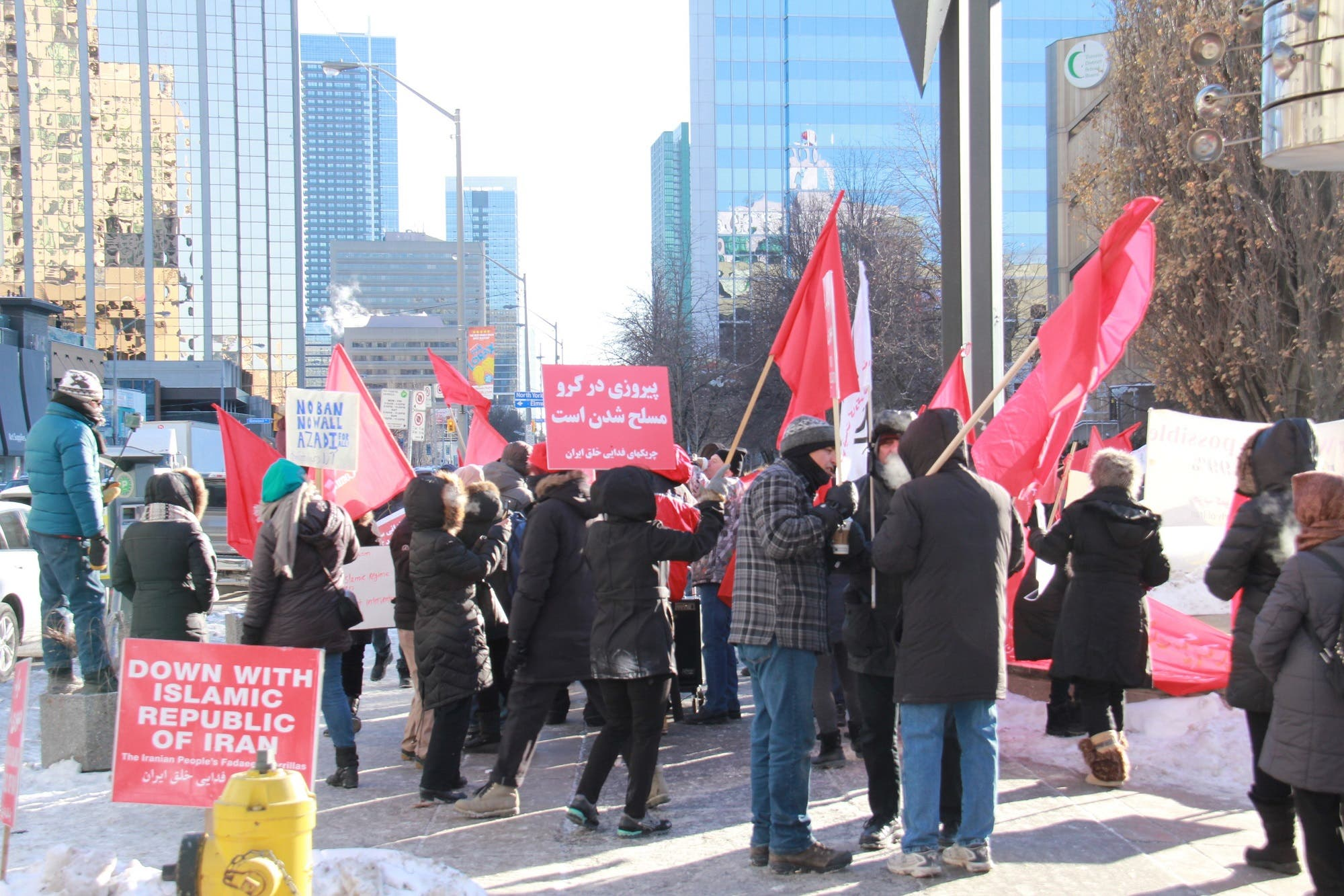 One of the organizers said multiple protests were taking place in various locations in Toronto. (Supplied)