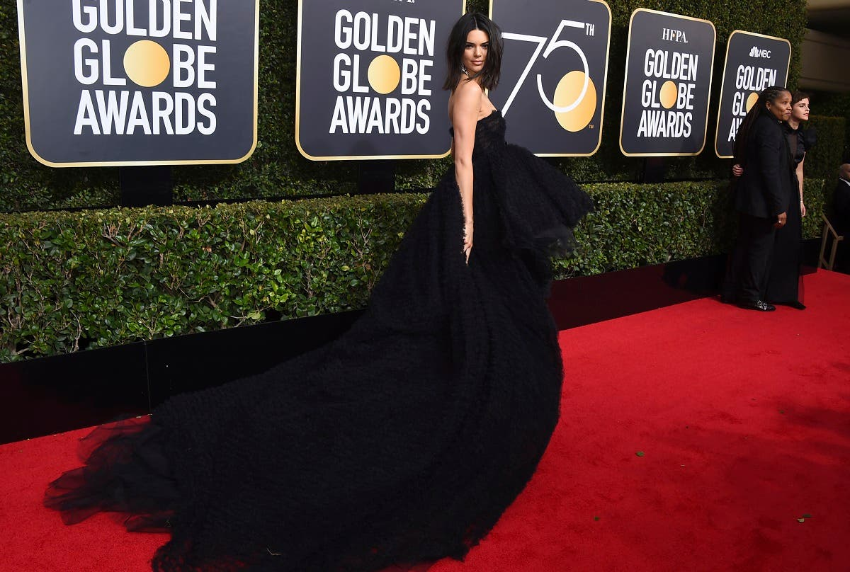 Kendall Jenner arrives at the 75th annual Golden Globe Awards at the Beverly Hilton Hotel. (AP)