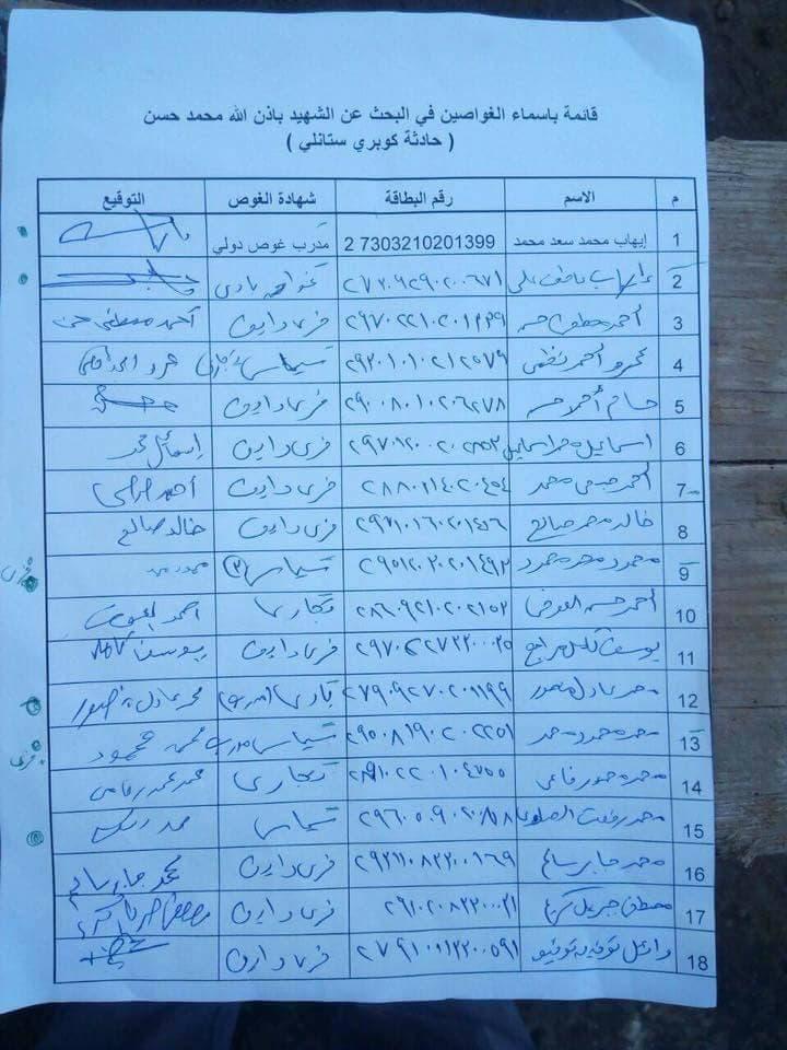 قائمة بأسماء الغواصين الذين تطوعوا للبحث عن الجثة