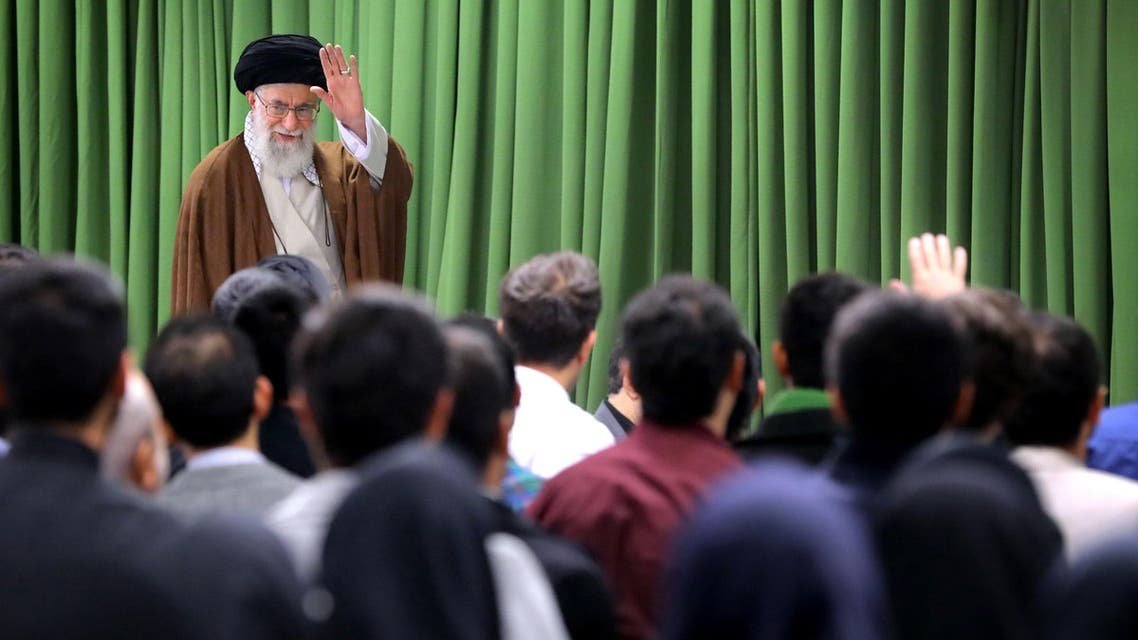A handout picture shows Iran's Supreme Leader Ayatollah Ali Khamenei meeting with Iranian students in Tehran on October 18, 2017. (AFP)