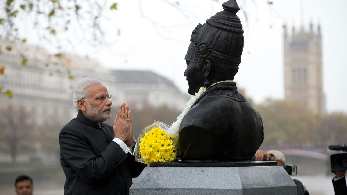 Prime Minister Narendra Modi after unveiling a statue of 12th century philosopher Basaveshwara in London on Nov. 14, 2015. (AP)
