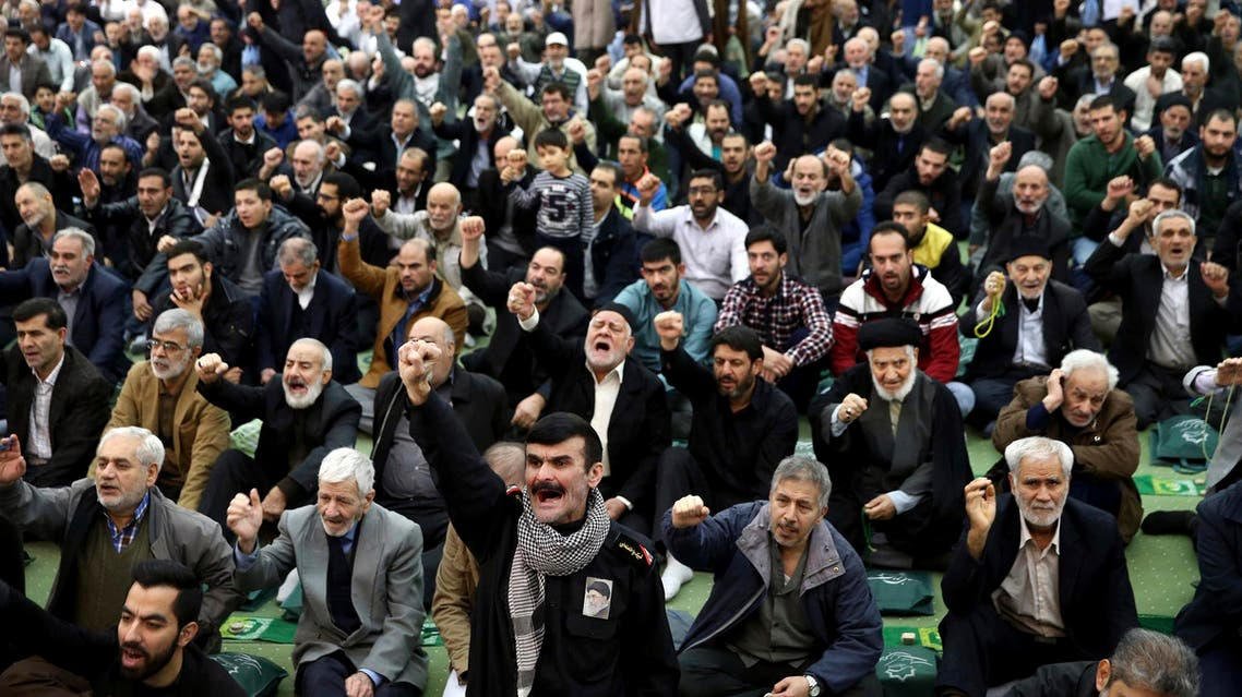 Iranian worshippers chant slogans during the Friday prayer ceremony in Tehran on Jan. 5, 2018. (AP)