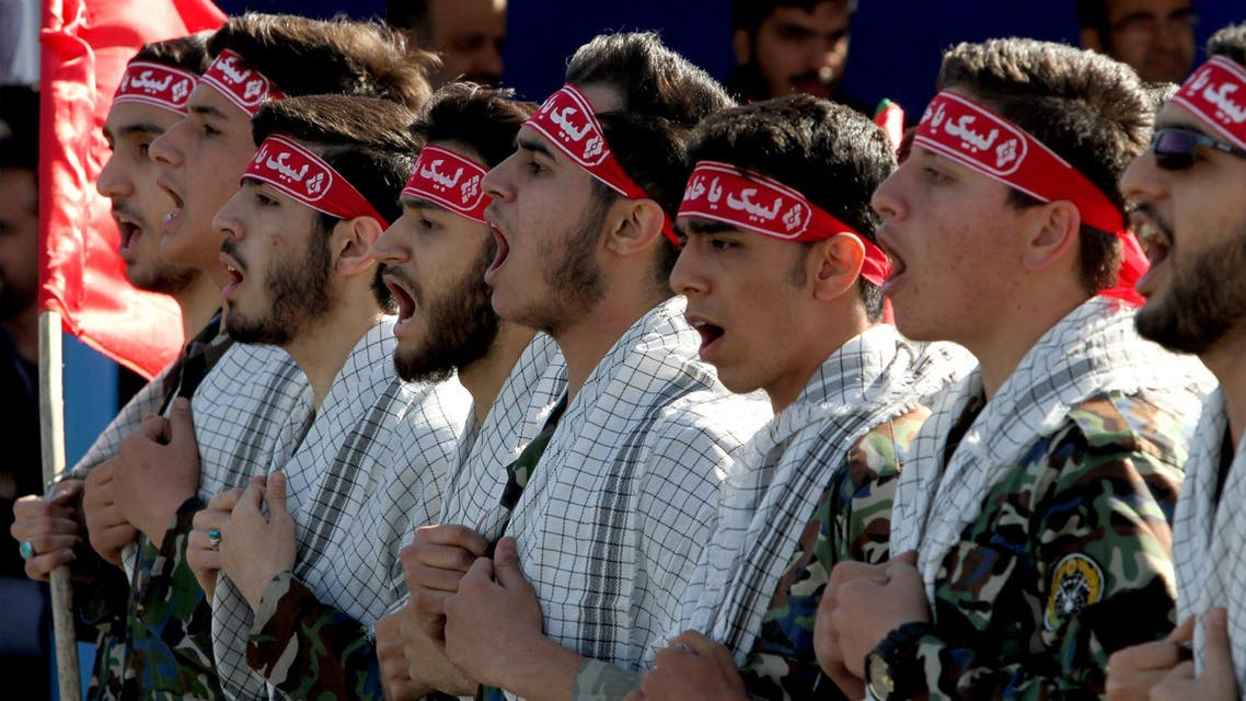 Iranian members of the Basij militia march during a parade marking the country's Army Day, on April 18, 2017, in Tehran. (AFP)