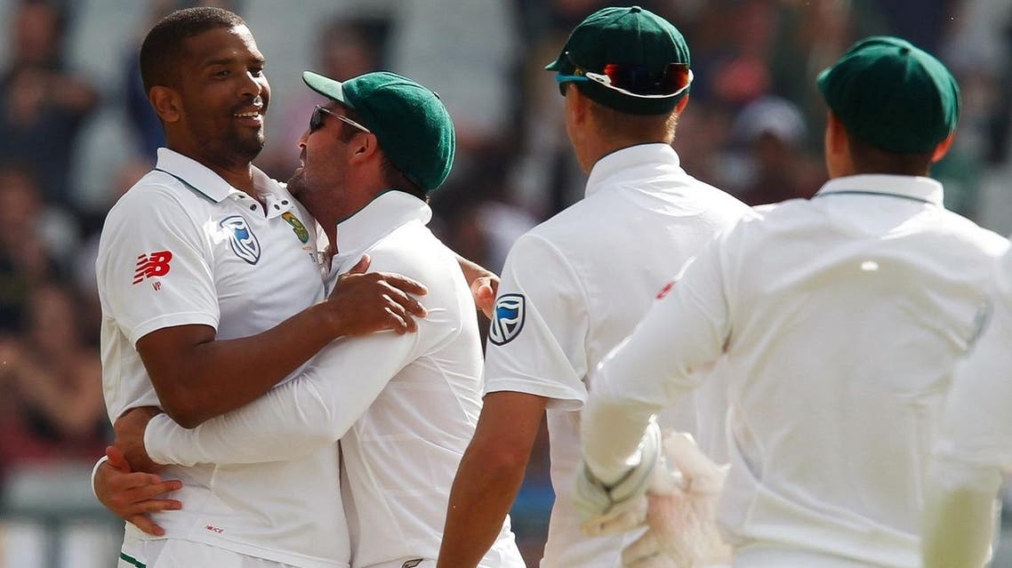 South Africa player's Vernon Philander celebrates with teammates after bowling out India's Mohammed Shami. (Reuters)