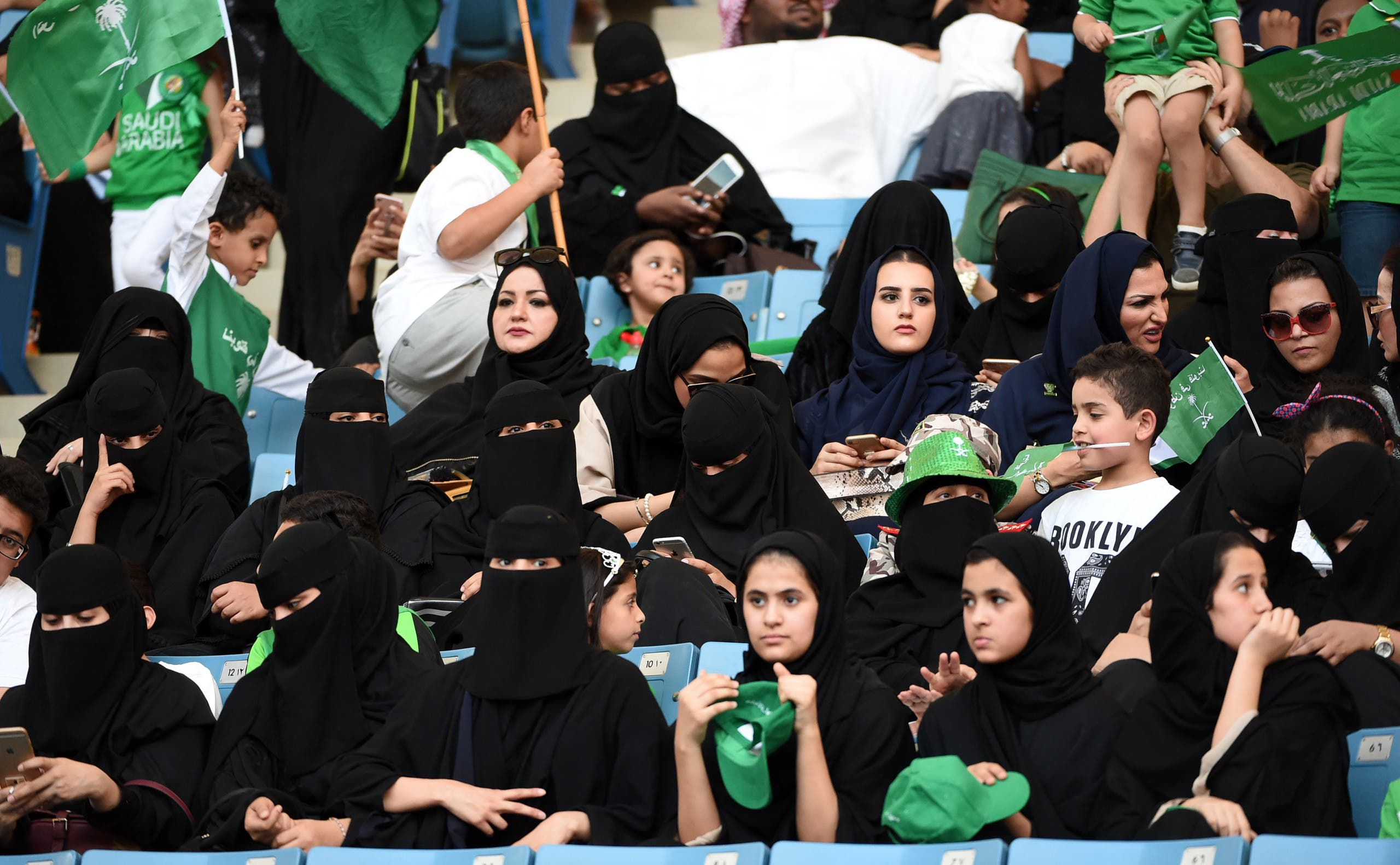 Saudi women sit in a stadium in Riyadh on September 23, 2017 commemorating the anniversary of the founding of the kingdom. (AFP)