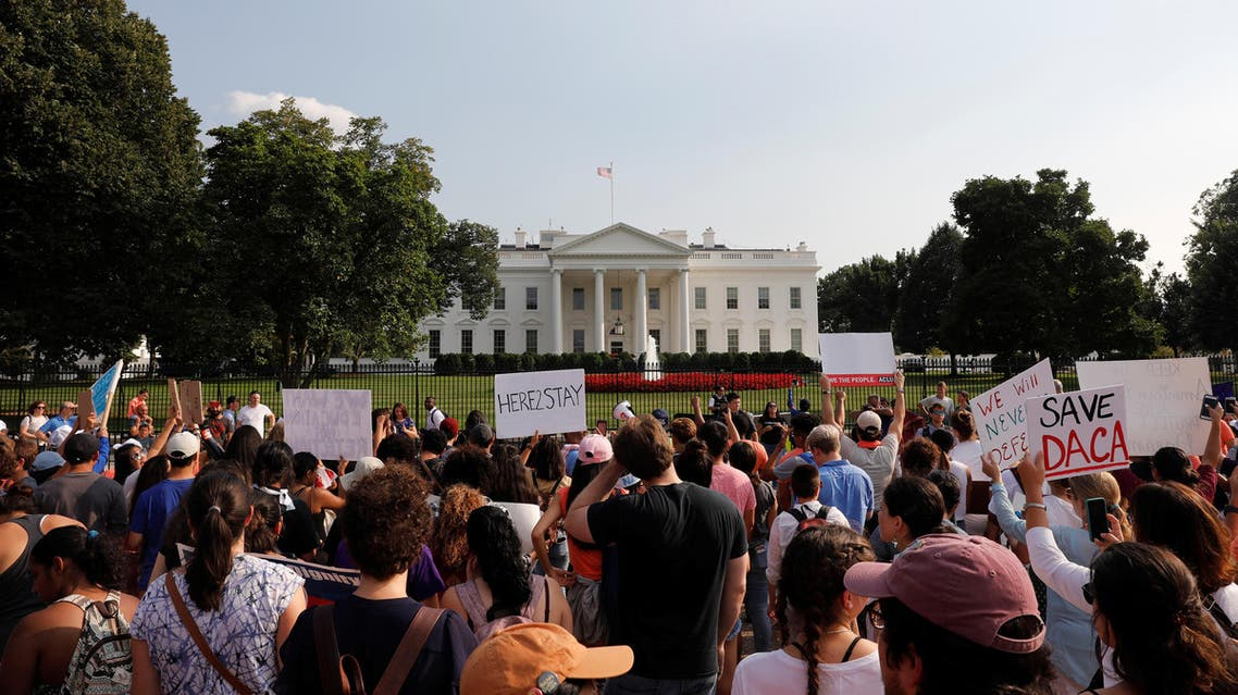 Protestors gather outside the White House to protest President Donald Trump's plan to repeal DACA in Washington, September 5, 2017. (Reuters)