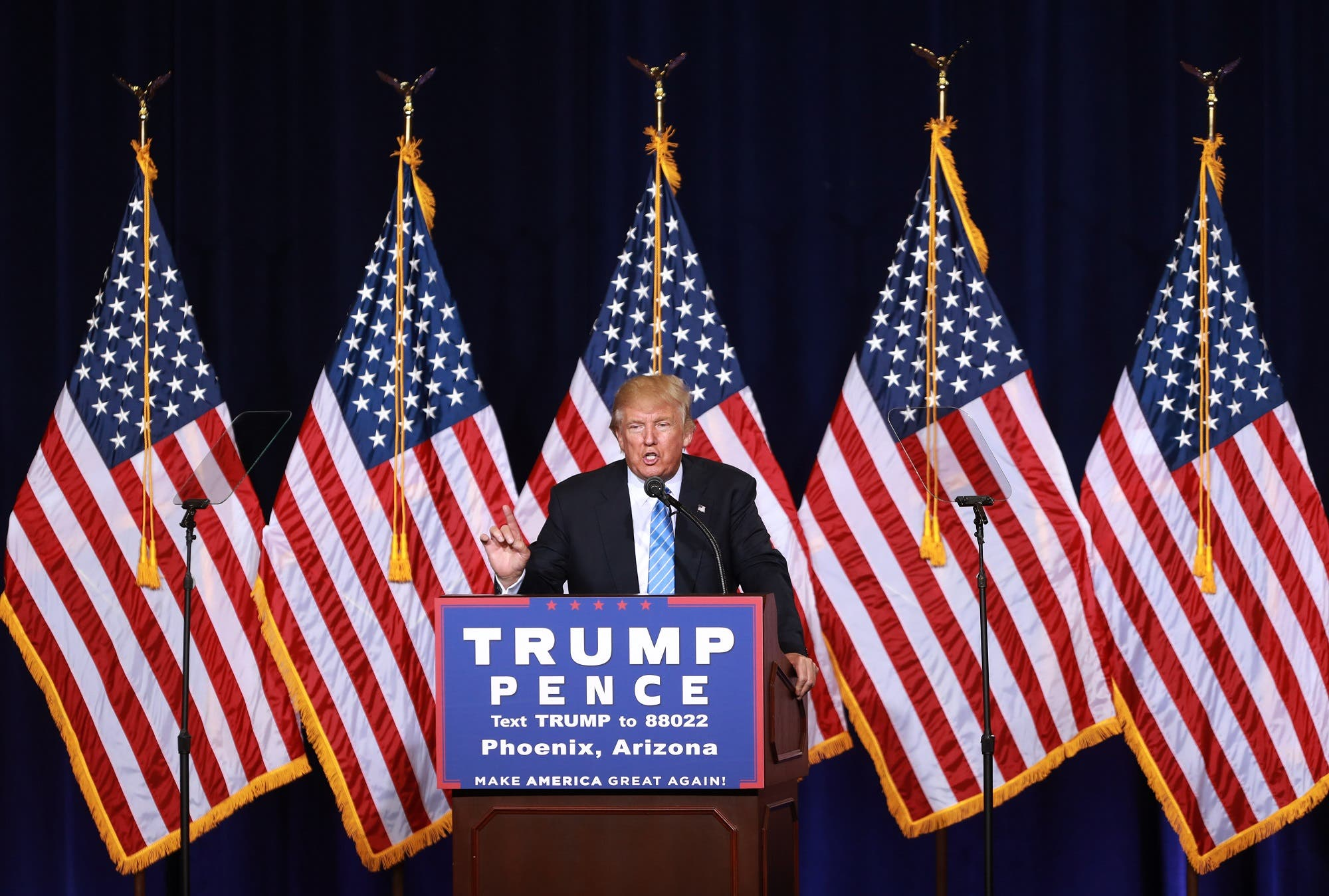 Trump unveils his 10-point plan to crack down on illegal immigration during a campaign event in Phoenix, Arizona, on August 31, 2016. (AFP)