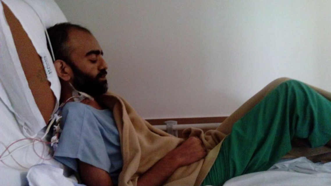 Faisal Abdullah Malik undergoing medical treatment before the heart transplant. (Supplied)