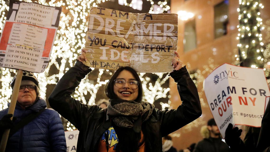 """Deferred Action for Childhood Arrivals (DACA) recipient Gloria Mendoza participates in a demonstration in support of """"clean"""" legislation in New York, U.S., January 10, 2018. Picture taken January 10, 2018. REUTERS/Lucas Jackson TPX IMAGES OF THE DAY"""
