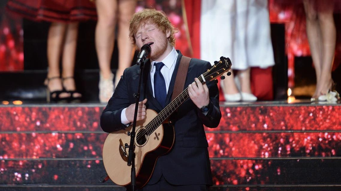 British singer-songwriter Ed Sheeran performs during the Miss France 2018 beauty pageant in Chateauroux, central France. (AFP)