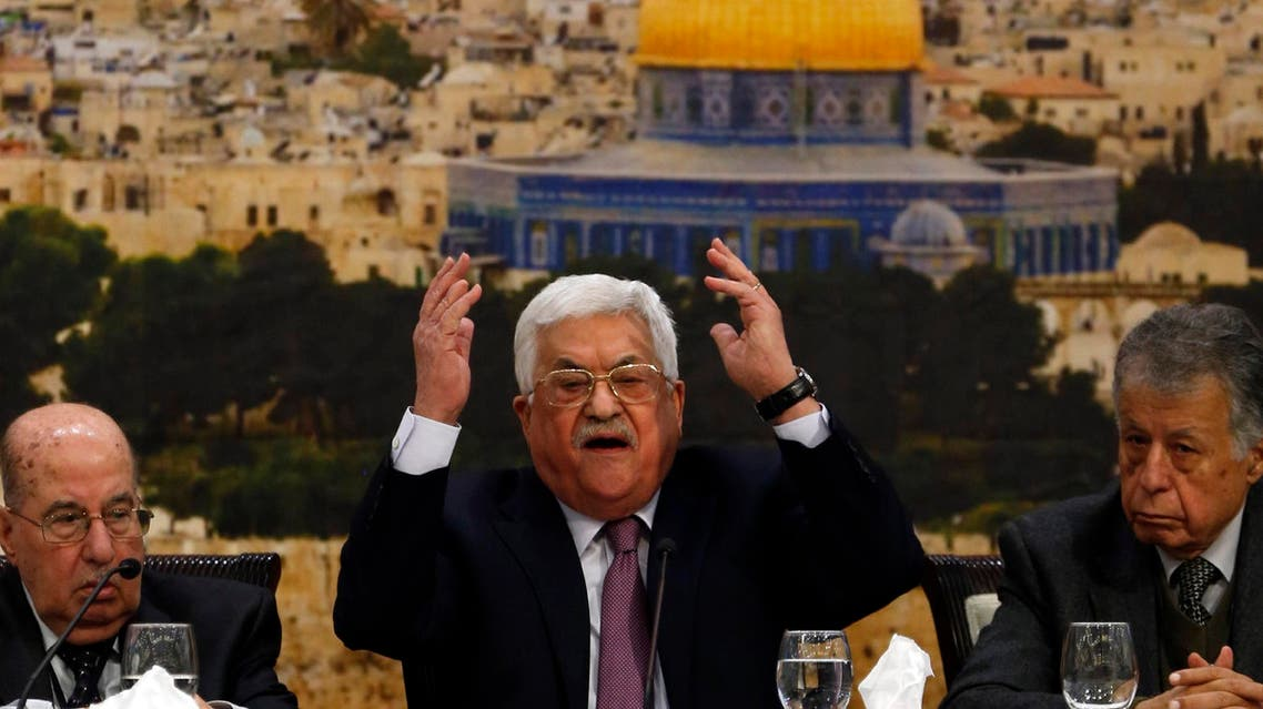 Mahmoud Abbas speaks during the meeting in Ramallah on January 14, 2018. (AFP)