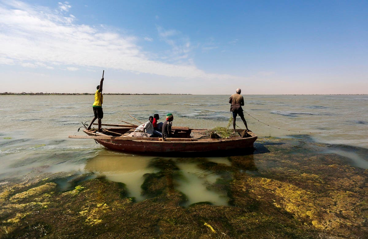 Sudanese fishermen sail through river algae while fishing on the Nile River on the outskirts of Khartoum, Sudan. (AP)