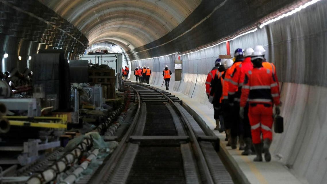 """View of the tunnel on the construction site of the future metro stations """"Aime Cesaire"""" and """"Mairie d'Aubervilliers"""" as part of the line 12 extension in Aubervilliers near Paris. (Reuters)"""