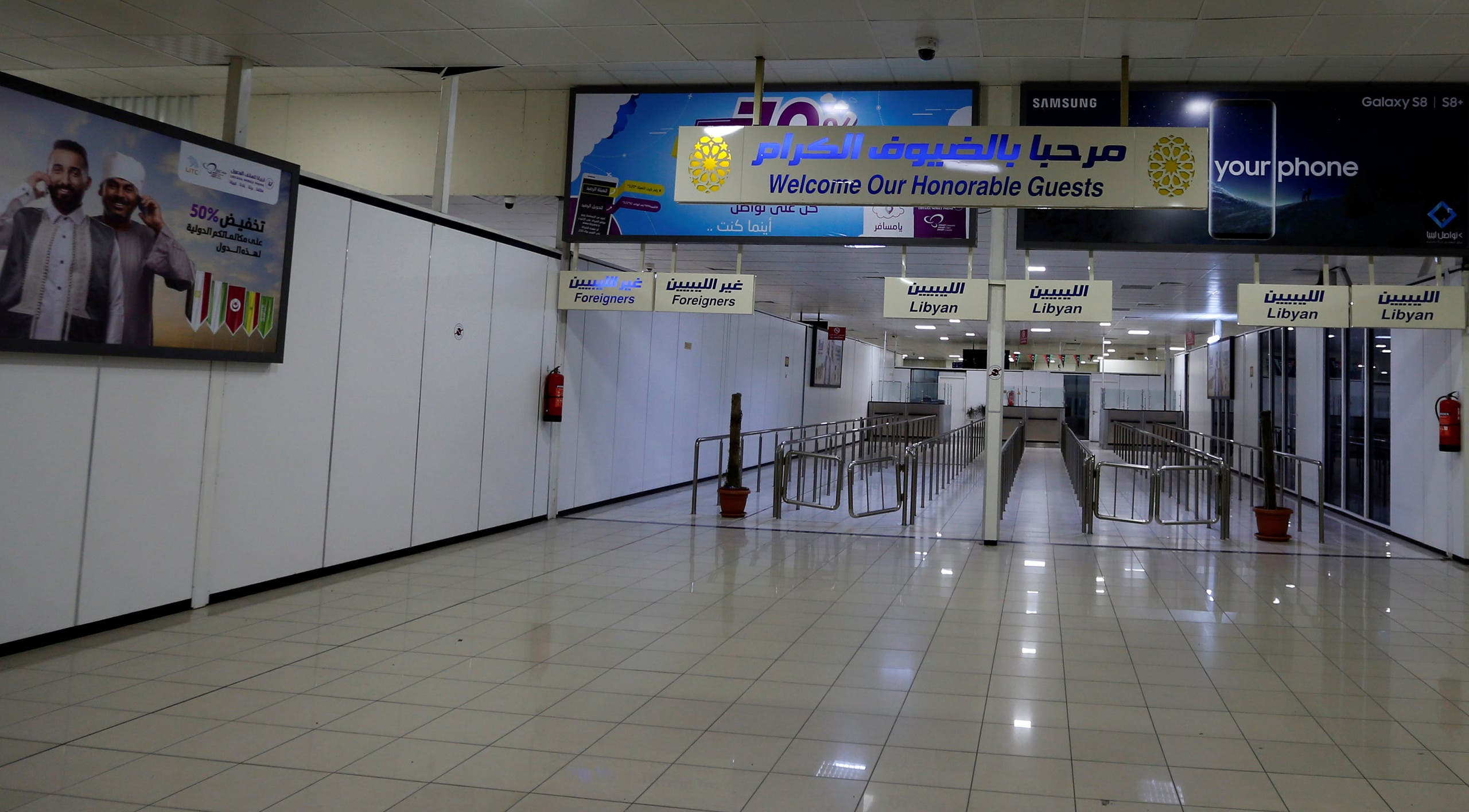 The interior of Mitiga airport is seen empty following clashes, in Tripoli, Libya, on January 15, 2018. (Reuters)