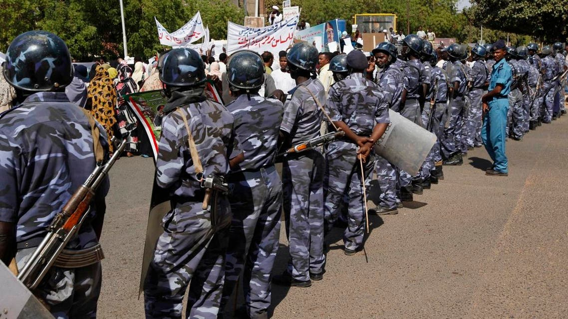 Sudanese riot police line up closing the road leading to the offices of the EU commission in 2009. (File photo: AP)