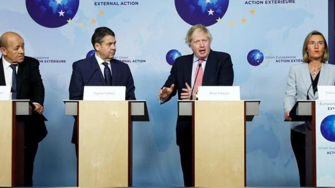 مؤتمر صحفي لوزراء خارجية المانيا وفرنسا وبريطانيا مع منسقة الاتحاد الاروبي حول اتفاق ايران