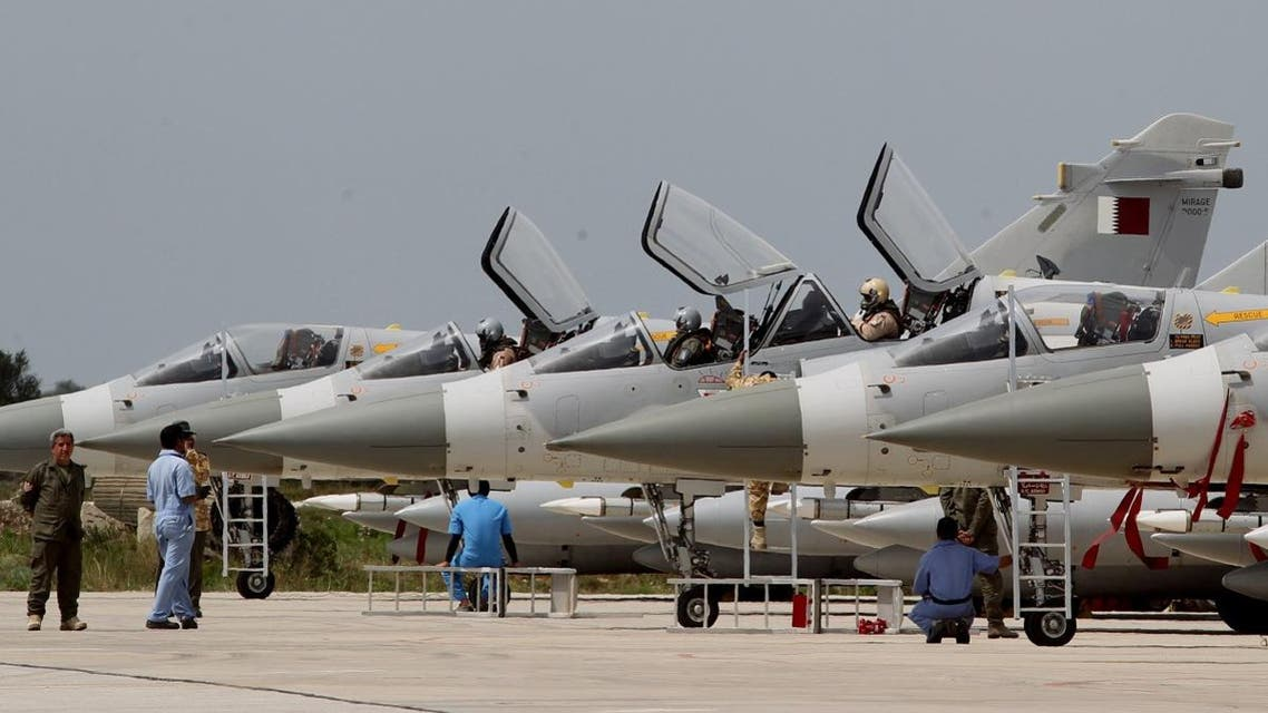 Qatari Air Force Mirage 2000 jet fighters prepare to take off for a mission to Libya in 2011. (AP)