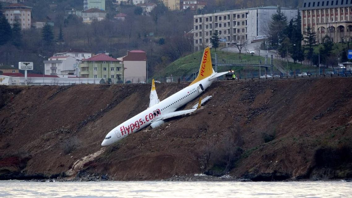 A Pegasus Airlines aircraft is pictured after it skidded off the runway at Trabzon airport by the Black Sea in Trabzon. (Reuters)