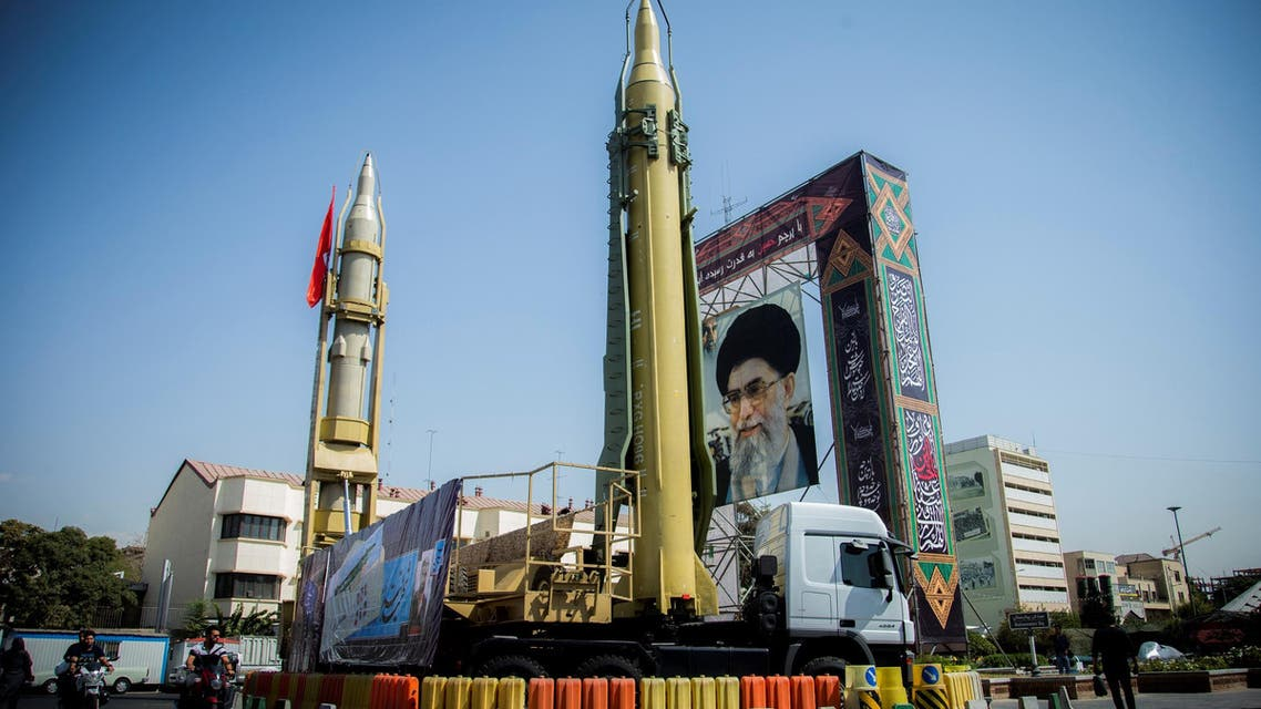 A display featuring missiles and a portrait of Iran's Supreme Leader Ayatollah Ali Khamenei is seen in Tehran on September 27, 2017. (Reuters)