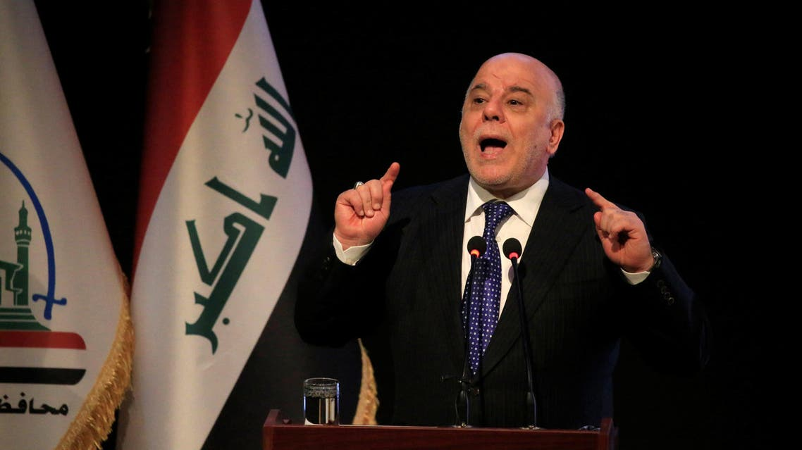Iraq's Prime Minister Haider al-Abadi speaks during a ceremony in Najaf, Iraq January 7, 2018. REUTERS/Alaa Al-Marjani