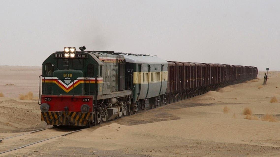 Pakistani goods train on its way to Taftan border between Pakistan and Iran, on February 1, 2006 at Dalbadin, Pakistan. (AP)